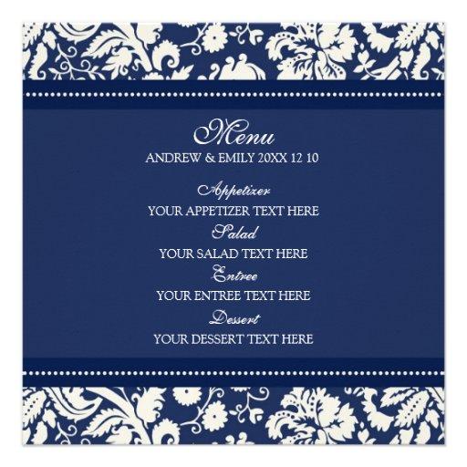 Damasco floral azul del menú del boda comunicado personal