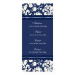 Damasco floral azul del menú del boda diseño de tarjeta publicitaria