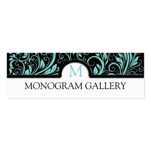 Damasco floral azul y negro del trullo hermoso plantilla de tarjeta de negocio
