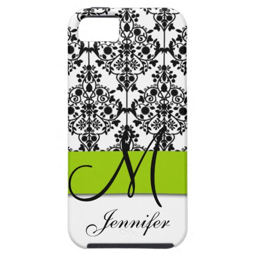 Damasco floral blanco negro de la verde lima iPhone 5 Case-Mate funda