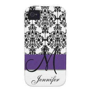 Damasco floral blanco negro púrpura oscuro del mon iPhone 4 carcasas