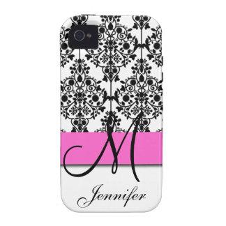 Damasco floral blanco negro rosado con monograma iPhone 4 carcasa