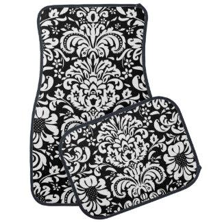Damasco floral blanco y negro alfombrilla de auto