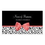 Damasco floral blanco y negro con el arco rosado tarjeta de visita