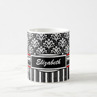 Damasco floral blanco y negro de lujo del art déco taza clásica