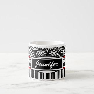 Damasco floral blanco y negro de lujo del art déco taza espresso