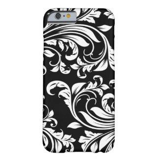 Damasco floral blanco y negro elegante funda de iPhone 6 barely there