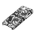 Damasco floral blanco y negro elegante iPhone 5 Case-Mate carcasa
