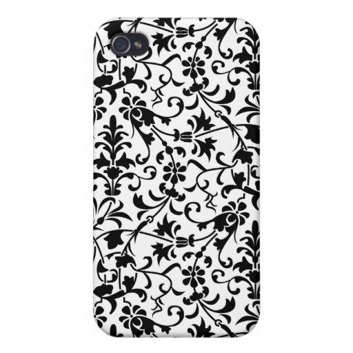 Damasco floral blanco y negro iPhone 4 funda