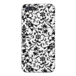 Damasco floral blanco y negro iPhone 5 protectores
