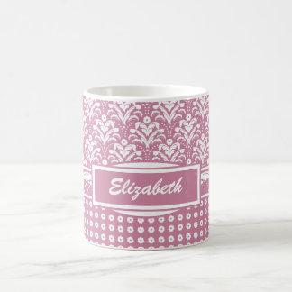 Damasco floral bonito de los años 30 rosados taza clásica