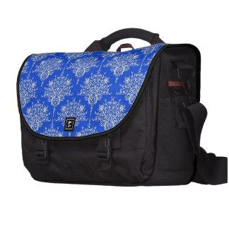 Damasco floral brillante del azul de cobalto y bla bolsa de ordenador