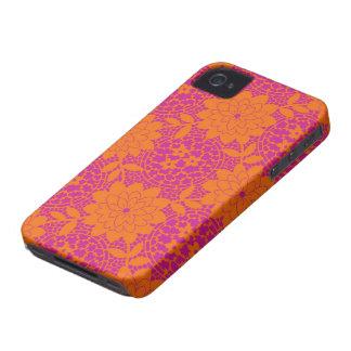 damasco floral brillante del enrejado Case-Mate iPhone 4 carcasa