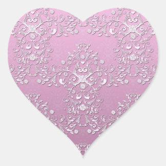 Damasco floral complejo rosado de lujo calcomanías corazones