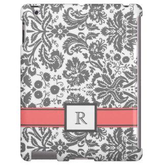 damasco floral coralino gris del monograma de enca funda para iPad