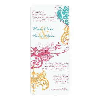 damasco floral de 9 x 4 de la primavera colores invitación 10,1 x 23,5 cm