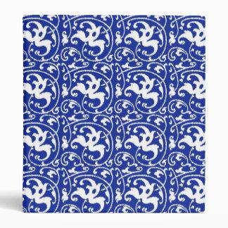 "Damasco floral de Ikat - azul y blanco de cobalto Carpeta 1"""