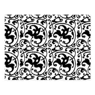 Damasco floral de Ikat - blanco y negro Postales