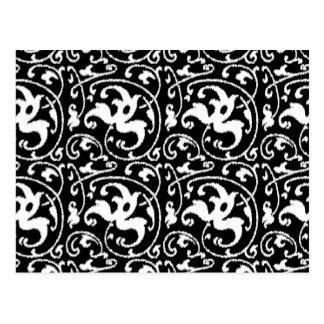 Damasco floral de Ikat - blanco y negro Tarjetas Postales