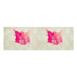 Damasco floral de la acuarela del gato del vintage tarjetas de visita mini