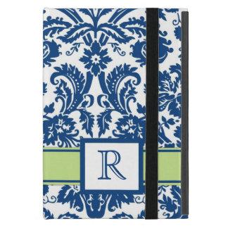 damasco floral de la cal azul de encargo del monog iPad mini fundas