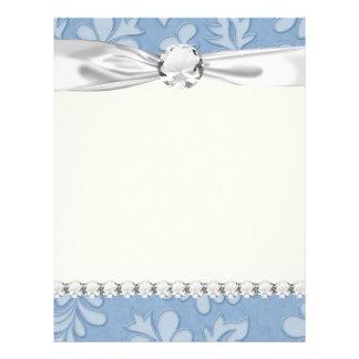 damasco floral de la flor del remolino azul en col membretes personalizados
