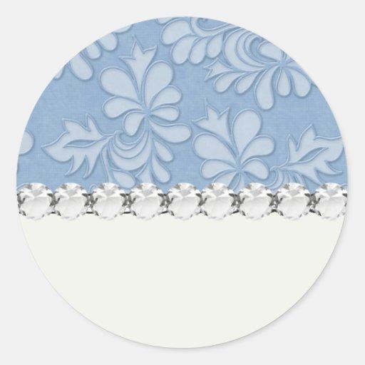 damasco floral de la flor del remolino azul en etiquetas redondas