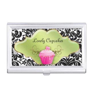 Damasco floral de la magdalena linda de la caja de tarjetas de presentación