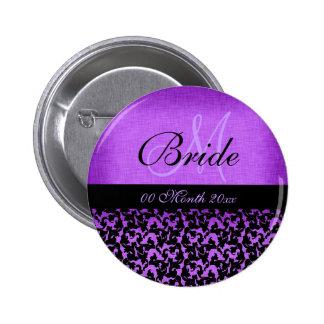 Damasco floral de la novia negra púrpura del boda pin redondo 5 cm