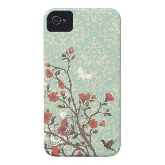 Damasco floral de los remolinos del vintage + caso Case-Mate iPhone 4 coberturas