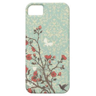 Damasco floral de los remolinos del vintage + caso funda para iPhone 5 barely there