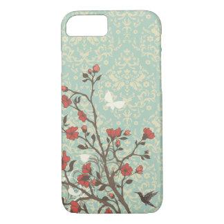 Damasco floral de los remolinos del vintage + caso funda iPhone 7