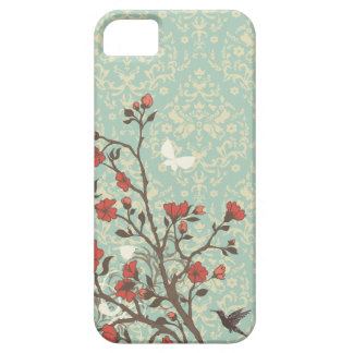 Damasco floral de los remolinos del vintage + caso funda para iPhone SE/5/5s