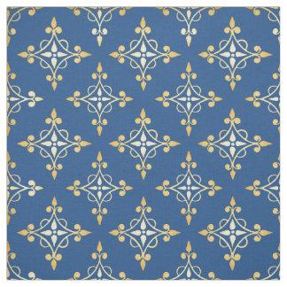 Damasco floral de lujo de Quatre del azul y del Telas