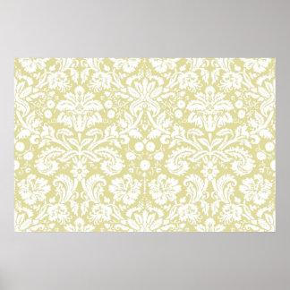 Damasco floral de lujo del oro póster
