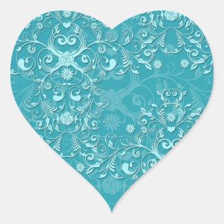 Damasco floral de lujo delicado del trullo de dos pegatina en forma de corazón