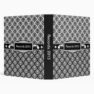 """Damasco floral del art déco blanco y negro elegant carpeta 1"""""""