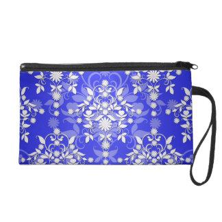 Damasco floral del azul de cobalto y blanca de la