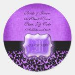 "Damasco floral del boda negro púrpura de la ""nueva etiquetas"