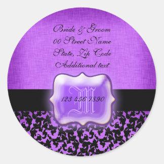 "Damasco floral del boda negro púrpura de la ""nueva pegatina redonda"