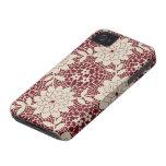 damasco floral del enrejado de la nata de Borgoña iPhone 4 Cobertura
