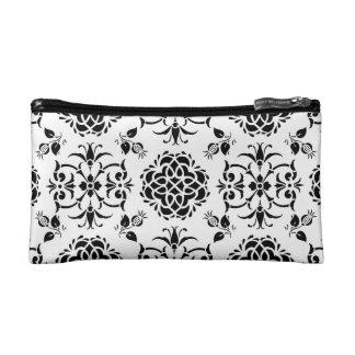 Damasco floral del estilo blanco y negro del
