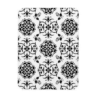 Damasco floral del estilo blanco y negro del imán rectangular