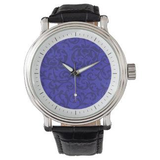 Damasco floral del jardín de Tudor del azul de Relojes