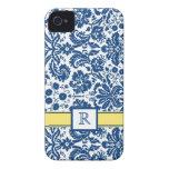 Damasco floral del limón azul de encargo del monog Case-Mate iPhone 4 fundas
