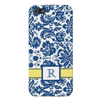 damasco floral del limón azul de encargo del monog iPhone 5 protector