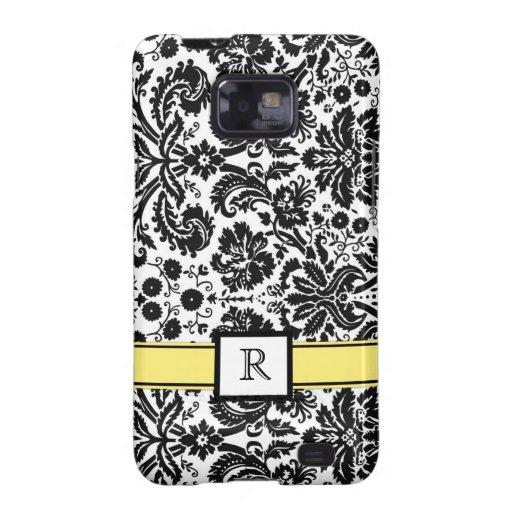 Damasco floral del monograma de Samsung del negro  Galaxy S2 Carcasas