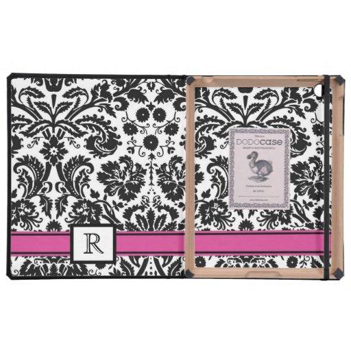 damasco floral del monograma del iPad del negro de