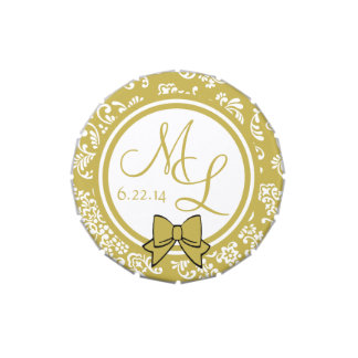 Damasco floral del oro con el monograma jarrones de caramelos