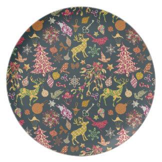 Damasco floral del remiendo festivo colorido plato de cena